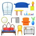 Set vector elements furniture isolated from the background in realistic style Royalty Free Stock Photo