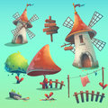 Set of  vector elements with windmill Royalty Free Stock Photo
