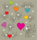 Set vector elves with hearts Royalty Free Stock Photos