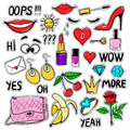 Set of vector fashion patches elements Royalty Free Stock Photo