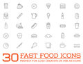 Set of Vector Fastfood Fast Food Elements Icons Royalty Free Stock Photo