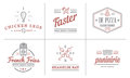 Set of Vector Fastfood Fast Food Elements Icons and Equipment as Illustration can be used as Logo Royalty Free Stock Photo
