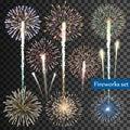 Set of vector fireworks