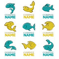 Set of vector fish logo, icons, signs,