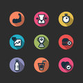 Set of vector fitness longshadow icons