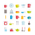 Set of vector flat crockery icons. Modern icons of kitchen utensils