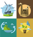 Set vector flat design concept illustrations with icons of ecology, environment, green energy and pollution Royalty Free Stock Photo