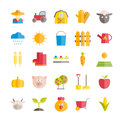 Set of vector flat farming and agriculture icons
