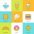 Set of vector flat food illustration. Breakfast multicolor icons