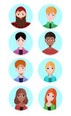 Set of vector flat icons of people of different sexes and races elements for infographics avatars your design Royalty Free Stock Photo