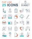 Set Vector Flat Line Icons Diabet
