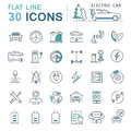 Set Vector Flat Line Icons Electric Cars