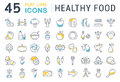 Set Vector Flat Line Icons Healthy Food