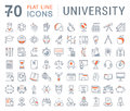 Set Vector Flat Line Icons University