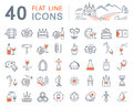 Set Vector Flat Line Icons Wine