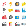 Set of vector flat music and cinema icons