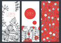 Set of vector floral banner backgrounds and seamless pattern linear illustration doodle decorative flowers concept for boutique Stock Photography