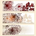 Set of vector floral banners for design brochures business cards Stock Images