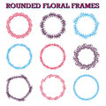 Set of vector floral hand drawn frames. Royalty Free Stock Photo