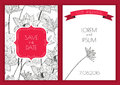 Set of vector floral save the date greeting card. Hand drawn lot