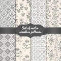 Set of vector flower seamless pattern backgrounds. Elegant textures for backgrounds, wallpapers etc