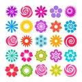 Set of vector flowers icons in flat style Royalty Free Stock Photo