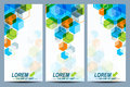 Set of the vector flyers.  Background with colorful hexagons. Modern stylish design Royalty Free Stock Photo