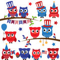 Set of Vector Fourth of July or Patriotic Owls