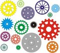 Set of vector gears different in the form Royalty Free Stock Photo