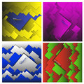 Set of vector geometric abstract backgrounds made of squares and rectangles