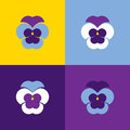 Set of vector geometric pansies. Heartsease