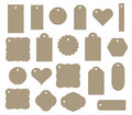 Set of vector gift tag, discount label. Twenty different shapes. Royalty Free Stock Photo