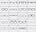 Set of vector glasses icons in black over white