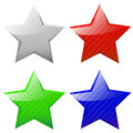 Set of vector glossy five pointed stars different colors Stock Images