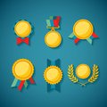 Set of vector golden awards for rewarding ceremony decoration and distinction Royalty Free Stock Photo