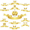 Set of vector golden crown with curves banner icons Stock Photography
