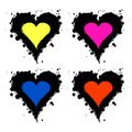 Set of vector graphic grunge illustrations of heart, sign with ink blot, brush strokes, drops isolated on the white background. Se Royalty Free Stock Photo