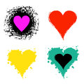 Set of vector graphic grunge illustrations of heart, sign with ink blot, brush strokes, drops isolated on the white background. Se