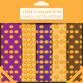 Set of vector Halloween seamless patterns in the package with shadows.