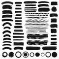 Set of vector hand drawn brush strokes, wavy lines, circles.