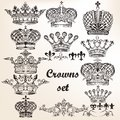 Set of vector hand drawn crowns for design your heraldic Stock Image
