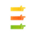 Set of vector hand pointers - yellow, orange, green Royalty Free Stock Photo