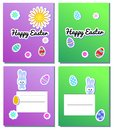 Set Vector Happy Easter Card Templates with stickers eggs, bunnies, flowers, sun. Illustration for spring greeting cards and