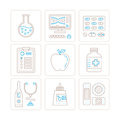 Set of vector healthcare or medicine icons and concepts in mono thin line style Stock Photos