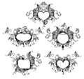 Set of vector heart frame Royalty Free Stock Photo