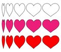 `Set of vector heart icons with a change of outline heart and pink and red hearts surrounded by black.Design the love symbol with