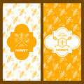 Set of vector honey backgrounds for label, package, banner. Royalty Free Stock Photo