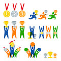 Set of vector human sport logo, labels, badges, emblems. People and sports competitions  icons. Winner with awards. Royalty Free Stock Photo