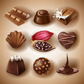 Set of vector icons of chocolate desserts and candies, liquid chocolate and cocoa beans Royalty Free Stock Photo