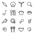 Set of vector icons cooking, food, healthy on a light background